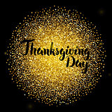 Thanksgiving Day Lettering over Gold