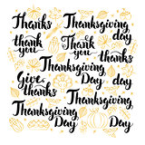 Thanksgiving Day Lettering Design Set