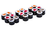 Salmon and caviar rolls set isolated on white