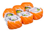 Salmon sushi rolls isolated on white