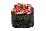 Sushi with eel and caviar in nori leaf isolated on white backgro