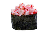 Sushi with caviar in nori leaf isolated on white background