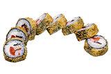 Sushi rolls isolated on white background