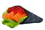 Caviar Sushi nori with tuna and salmon isolated on white backgro