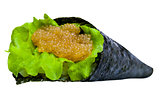 Sushi roll with tuna, caviar and rice isolated on white backgrou