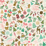 Vector Hand Drawn Christmas Doodles Seamless Background.