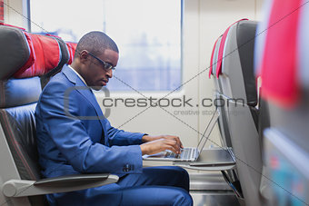 Business passenger in a train