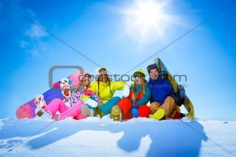Group of people on a mountain
