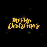 Merry Christmas Gold Lettering over Black