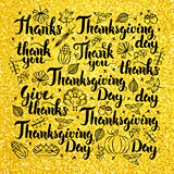 Thanksgiving Day Gold Lettering Design