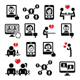 Online dating apps, couples on date vector icons set