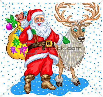 Santa Claus with bag of gifts and reindeer