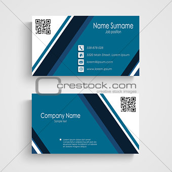 Business card with blue white stripes template