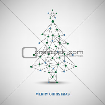 Christmas card with abstract tree of thin lines