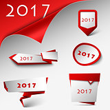 New Year card with red design pointers template