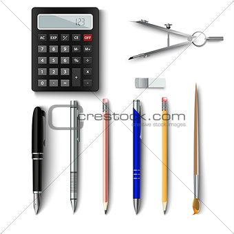 Office writing implements and drawing template