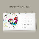 Rooster calendar 2017 for your design