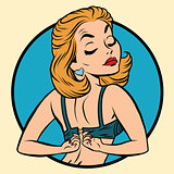 Pin-up girl wears a bra