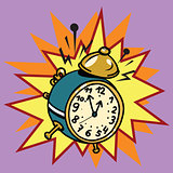 The alarm clock rings, time