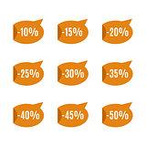 Set of discount labels, vector illustration.