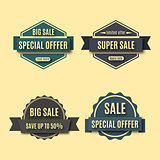 Set sale labels, vector illustration.