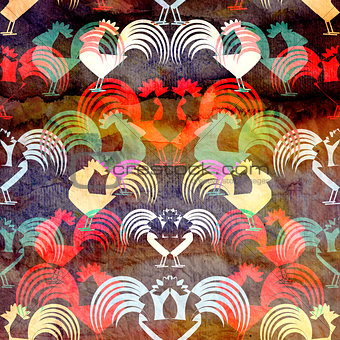Watercolor background with roosters