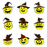 Set of halloween pumpkins with hat