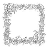 Floral hand drawn square frame in zentangle style isolated on white background.