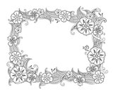 Floral hand drawn horizontal frame in zentangle style isolated on white background.