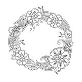 Floral hand drawn round frame in zentangle style isolated on white background.