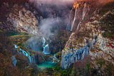Plitvice Waterfall in autumn.