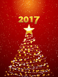 Christmas tree and 2017 background