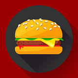 Hot burger hamburger or cheeseburger vector. Fast food icon flat