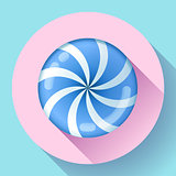 Sweet lollipop candie icon. Flat design style.