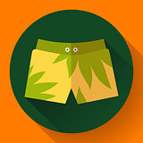 Man Beach Shorts Vector icon. Flat design style.