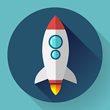 Flat rocket icon. Startup concept. Project development