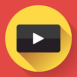 Modern flat video player icon on red.