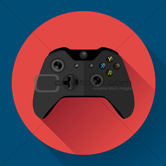 Black wireless Game controller flat icon with long shadow