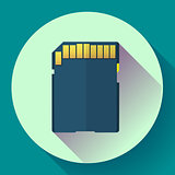 SDHC Memory card icon. Flat design style.