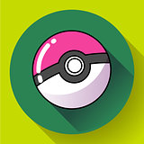 red round ball flat icon vector