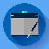 Graphic tablet icon. CG artist and Designer symbol. Flat design style.