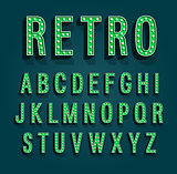 Retro font with light bulbs.
