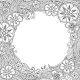 Floral hand drawn round frame in zentangle style.