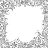 Floral hand drawn square frame in zentangle inspired style.