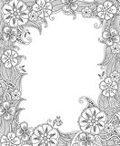 Floral hand drawn vertical frame in zentangle inspired style.