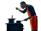 man cooking chef silhouette isolated