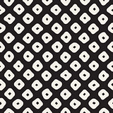 Vector Seamless Black and White Hand Drawn Rhombus Pattern