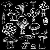 Set of white silhouettes cute cartoon mushrooms on black background.