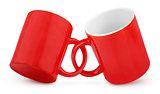 Two coupled red mugs