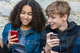 Boy Girl Male Female Teenagers Using Cell Phone